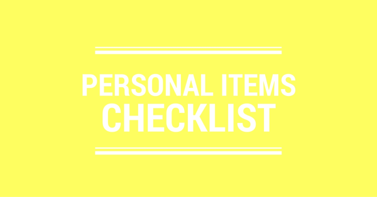 Personal Items Checklist